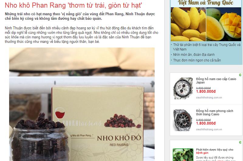 Viết bài PR sản phẩm nho khô Phan Rang