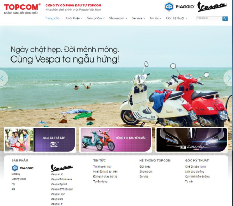 Dự án viết bài chuẩn seo cho Nhà phân phối xe Vespa, Piagio Việt Nam - Topcom