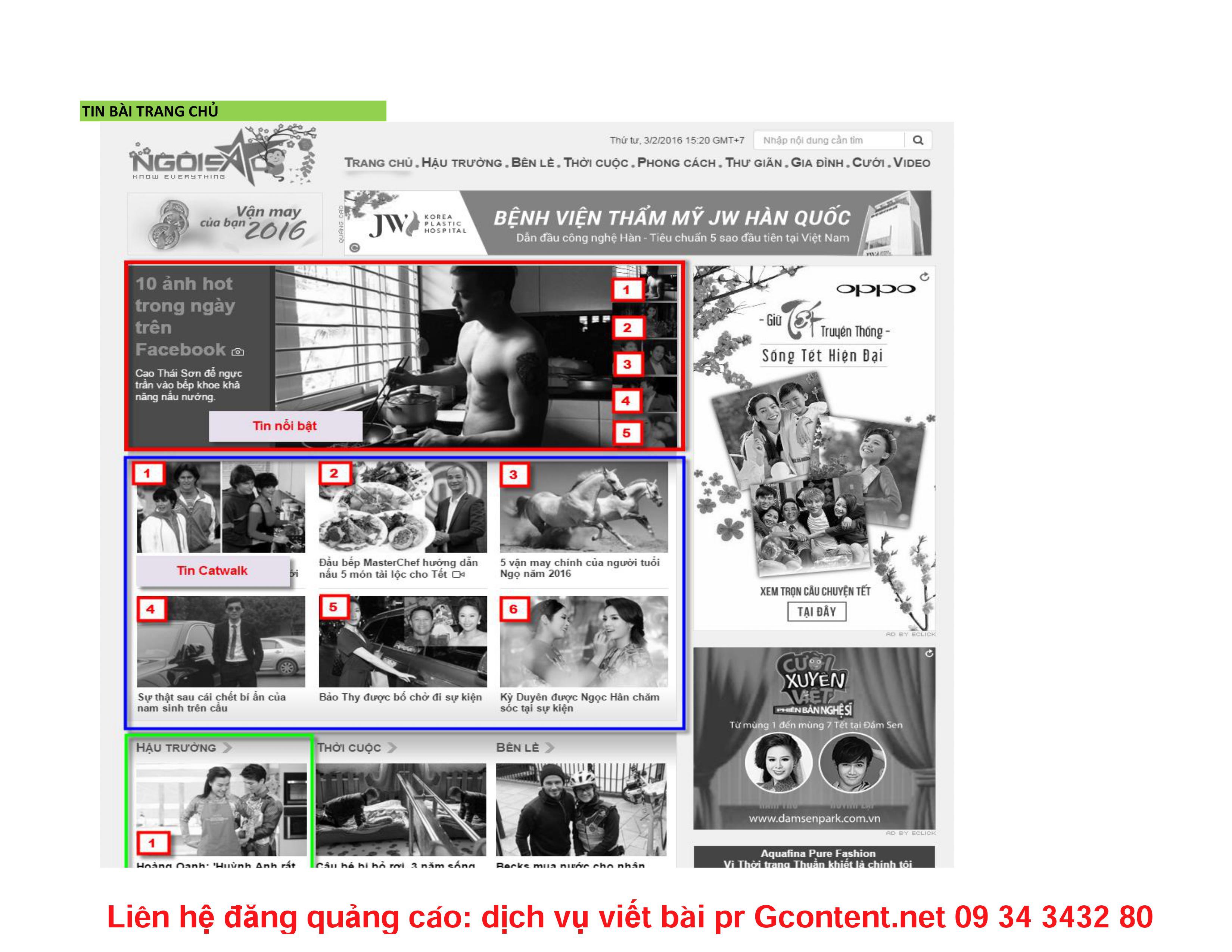 Bảng giá quảng cáo báo Ngoisao.net mới nhất năm 2016