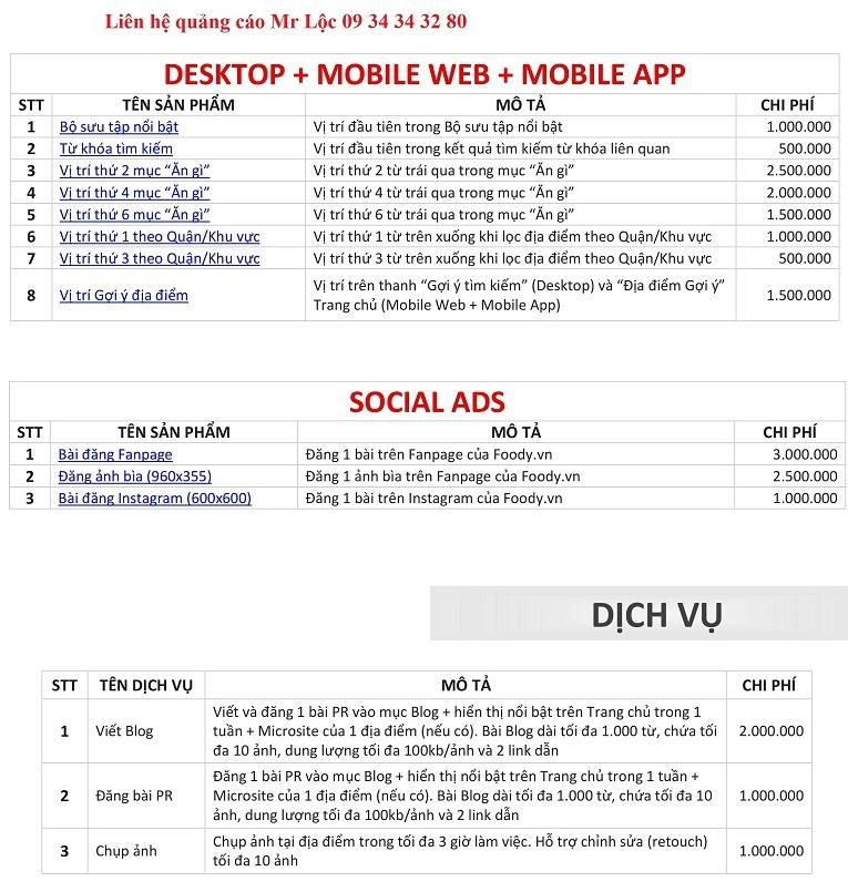 Báo giá quảng cáo bài viết PR, booking trên FoodyBáo giá quảng cáo bài viết PR, booking trên Foody