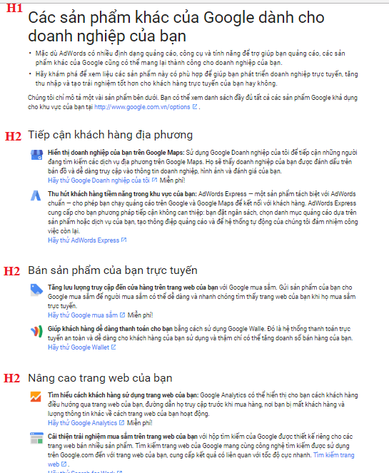 Hãy xem cách mà Google đặt thẻ Heading trong bài qua hình ảnh dưới đây