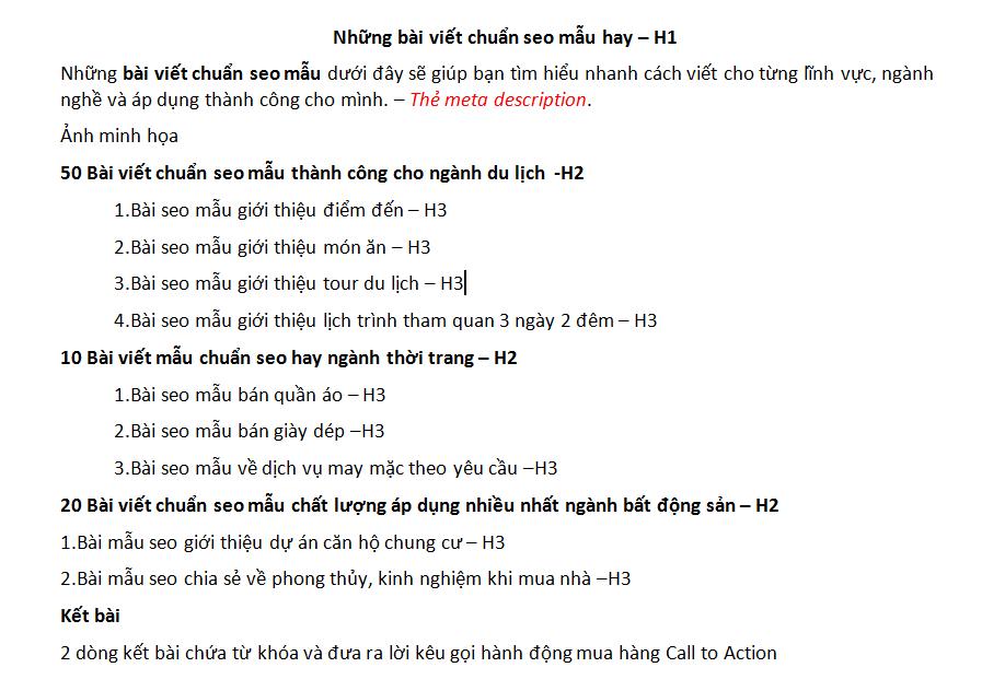 Viết các thẻ healding H2, H3, H4,...trong bài viết chuẩn seo
